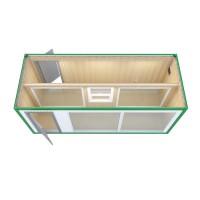Аренда блок контейнера - павильон (МДФ, панорамное остекление по длинной стороне, внутрнняя перегородка)