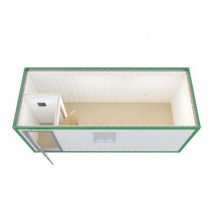 Аренда блок контейнера из сэндвич-панелей, с кроватью, столом и стулом