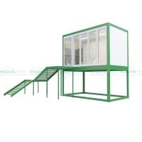 Блок-офис на платформе с остеклением