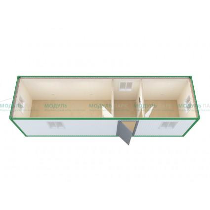 Блок-контейнер прорабская с переговорной (размеры 9.00м x 2.40м x 2.00м)
