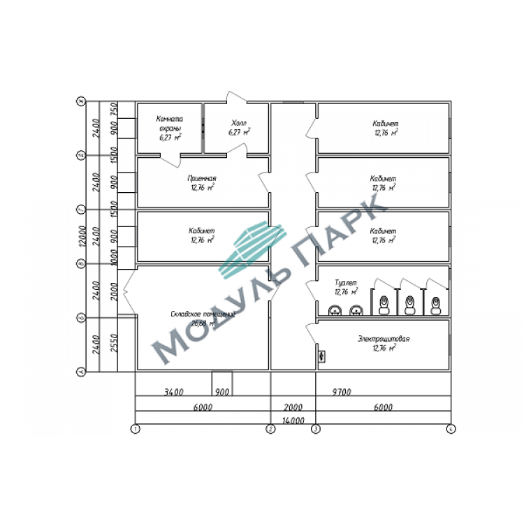 Модульный офис со складом и проходной