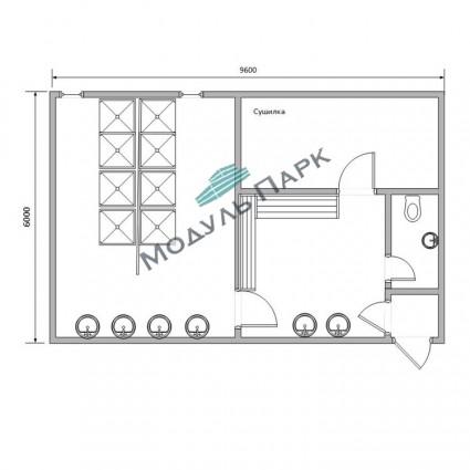 Модульное здание раздевалок №3