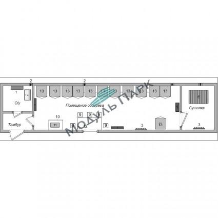 Модульное здание раздевалок №4